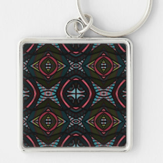 Kaleidoscope Silver-Colored Square Key Ring