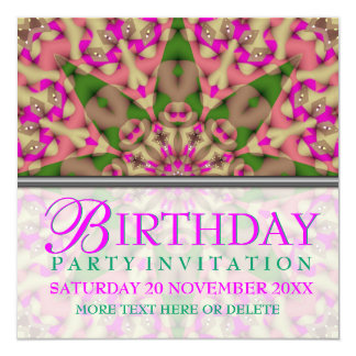 Kaleidoscope Star Birthday Party Invitation