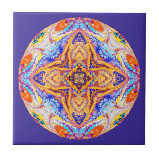 Kaleidoscope Tile in Blue and Gold
