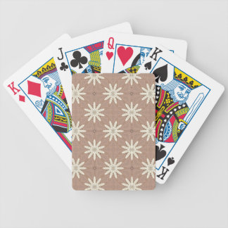 Kaleidoscope White Flowers on Beige Pattern Bicycle Playing Cards