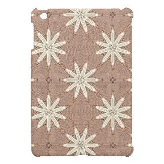 Kaleidoscope White Flowers on Beige Pattern iPad Mini Case
