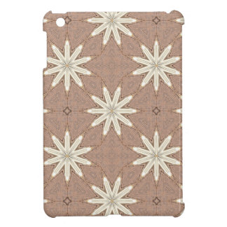 Kaleidoscope White Flowers on Beige Pattern iPad Mini Covers
