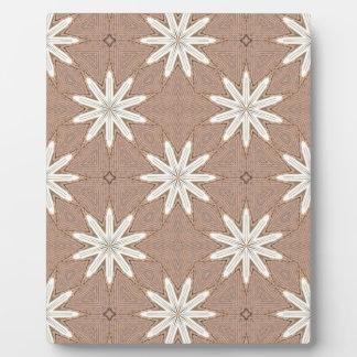 Kaleidoscope White Flowers on Beige Pattern Plaque
