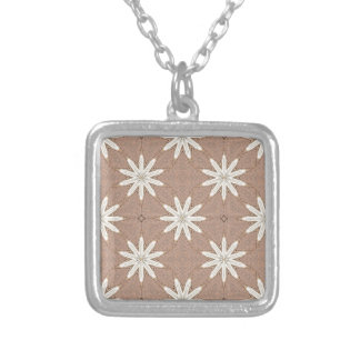 Kaleidoscope White Flowers on Beige Pattern Silver Plated Necklace