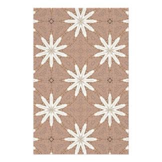 Kaleidoscope White Flowers on Beige Pattern Stationery