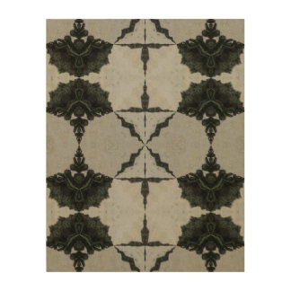 Kaleidoscope Wolf Spider, Black and Gray Wood Print