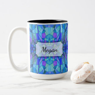 Kaleidoscopic Abstract in Blues, Personalized Two-Tone Coffee Mug