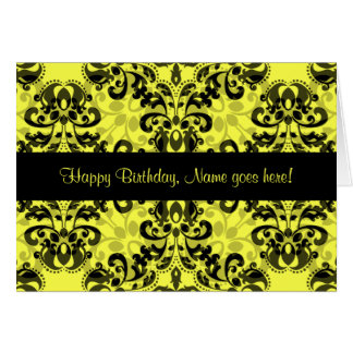 Kaleidoscopic damask pattern black yellow birthday card