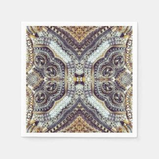 Kaleidoscopic grey Gold Medallion steampunk gears Paper Napkin