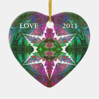 Kaleidoscopic Marbleized Effect Ornament.1 Ceramic Heart Decoration