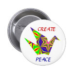 Kaleidoscopic Peace Crane Button