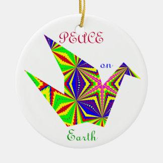 Kaleidoscopic Peace Crane Ornament. 1 Round Ceramic Decoration