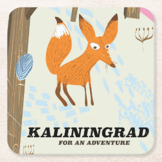 "Kaliningrad ""for an adventure"" travel poster square paper coaster"