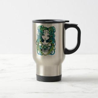 """""""Kallan"""" Green Lotus Water Angel Travel Mug"""