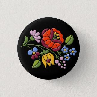 Kalocsa Embroidery - Hungarian Folk Art black bg. 3 Cm Round Badge