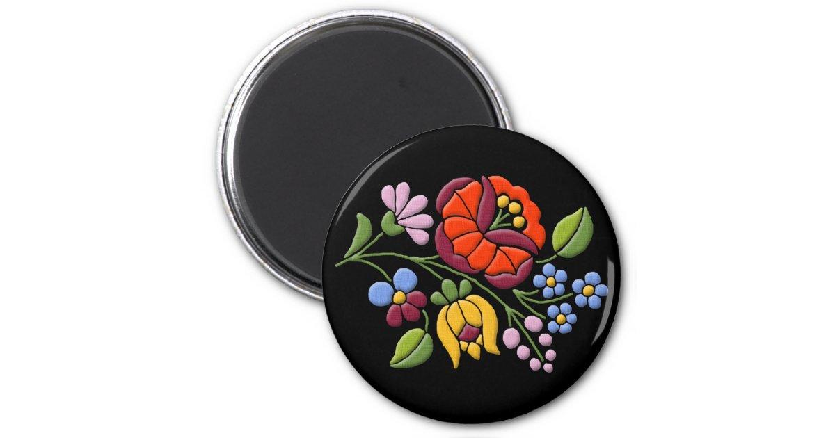 Kalocsa embroidery hungarian folk art black bg 6 cm for Descargar embroidery office design 7 5 full