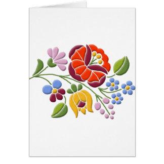 Kalocsa Embroidery - Hungarian Folk Art Greeting Card