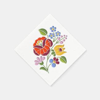 Kalocsa Embroidery - Hungarian Folk Art motif Disposable Napkin