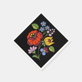 Kalocsa Embroidery - Hungarian Folk Art motif Disposable Serviette