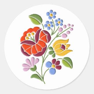 Kalocsa Embroidery - Hungarian Folk Art Round Sticker