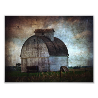 Kalona, Iowa White Barn With Birds Photographic Print
