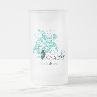 Kalypso Sea Turtle Frosted Glass Beer Mug