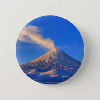 Kamchatka active Klyuchevskoy Volcano at sunrise 6 Cm Round Badge