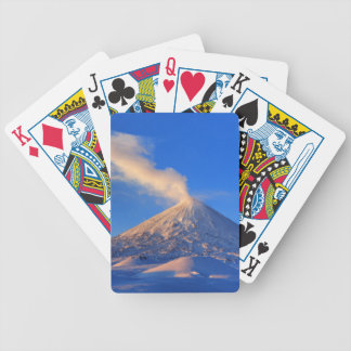 Kamchatka active Klyuchevskoy Volcano at sunrise Bicycle Playing Cards