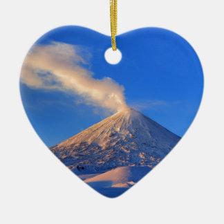Kamchatka active Klyuchevskoy Volcano at sunrise Ceramic Heart Decoration