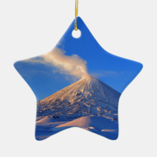 Kamchatka active Klyuchevskoy Volcano at sunrise Ceramic Star Decoration