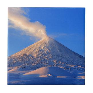 Kamchatka active Klyuchevskoy Volcano at sunrise Ceramic Tile