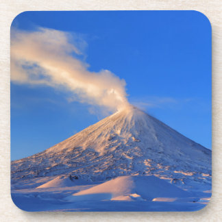 Kamchatka active Klyuchevskoy Volcano at sunrise Drink Coasters