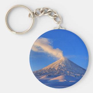 Kamchatka active Klyuchevskoy Volcano at sunrise Key Ring