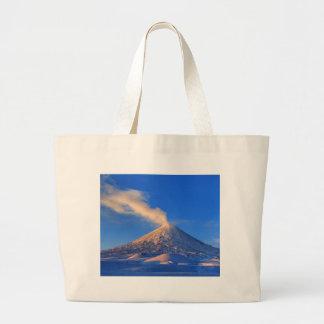 Kamchatka active Klyuchevskoy Volcano at sunrise Large Tote Bag