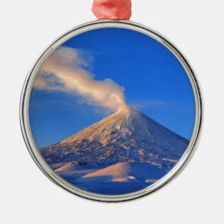 Kamchatka active Klyuchevskoy Volcano at sunrise Silver-Colored Round Decoration