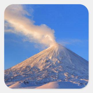 Kamchatka active Klyuchevskoy Volcano at sunrise Square Sticker