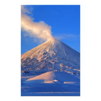 Kamchatka active Klyuchevskoy Volcano at sunrise Stationery