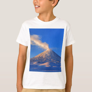 Kamchatka active Klyuchevskoy Volcano at sunrise T-Shirt