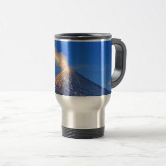 Kamchatka active Klyuchevskoy Volcano at sunrise Travel Mug