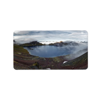 Kamchatka panorama view of crater lake of volcano label