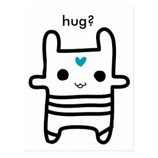 Kami - hearted bunny, hug? postcard