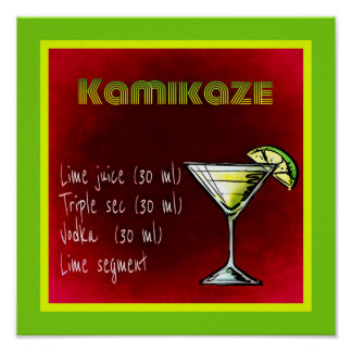 Kamikaze Drink Cocktail Recipe Poster