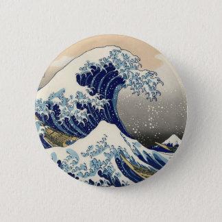Kanagawa open sea 浪 reverse side 6 cm round badge