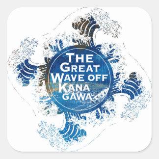 Kanagawa open sea 浪 reverse side square sticker
