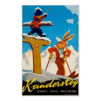Kandersteg Switzerland Vintage Travel Ski Poster
