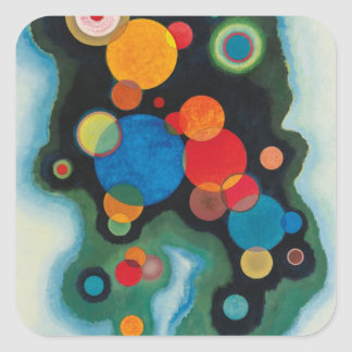 Kandinsky Deepened Impulse Abstract Oil on Canvas Square Sticker