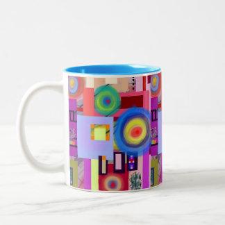 Kandinsky Inspired Digital Drawing No. 1 Two-Tone Coffee Mug