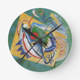 Kandinsky Red Oval Abstract Artwork Green Yellow Round Clock