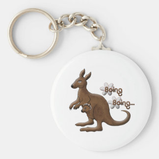 Kangaroo and Baby Kangaroo in Pouch Keychains