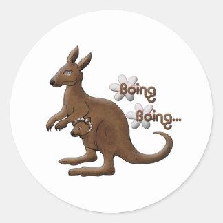 Kangaroo and Baby Kangaroo in Pouch Stickers